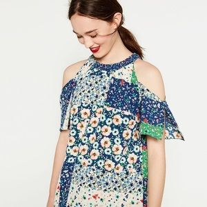 {Zara} sz XS cold shoulder patchwork floral dress